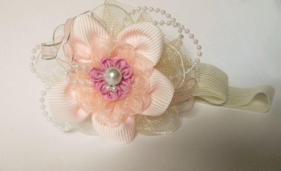 Opaska kwiat różowa ecru biała dziewczynki - na  chrzest