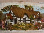 decoupage na starym drewnie - domek