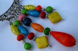 Kolorowy,wisior z kamieniami,gratis kolczyki