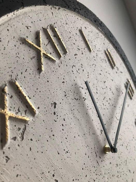 Zegar Betonowy Roman Biały Czarny Złoto - Zegar Roman Metallic Biały-Czarny-Złoto #3