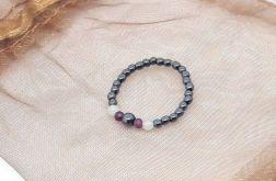 Pierścionek elastyczny - hematyt, rubin, agat