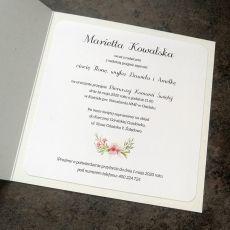 Zaproszenie na komunię dla dziewczynki z kwiatkami różowo zielono białe  ZKS 019