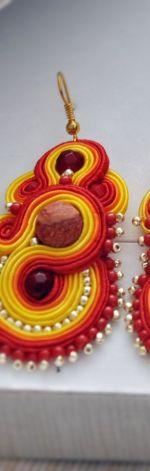 Ogniste kolczyki Soutache z czerwonym koralem
