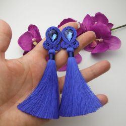 Kolczyki boho chwosty frędzle niebieskie long