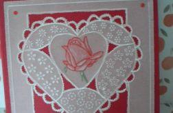 Walentynkowa róża - kartka