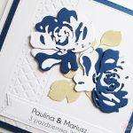 Kartka ŚLUBNA granatowo-biała - Kartka na ślub z biało-granatowymi różami