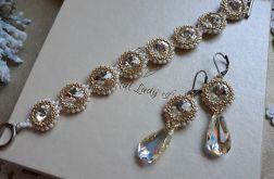 komplet biżuterii z kryształów Swarovski oraz koralików gold