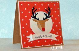 Kartka z reniferem na Boże Narodzenie