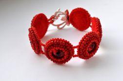 Bransoletka czerwona koralikowa