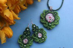 Zielone kwiaty - komplet Sutasz