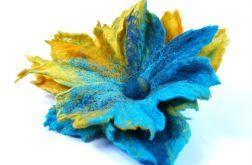 Filcowa broszka kwiat Turkus
