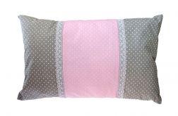 Poduszka ozdobna szaro-różowa 40x80cm