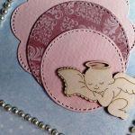 Kartka na Chrzest błękit z aniołkiem handmade