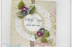 Delikatna kartka na Ślub z kwiatami 2