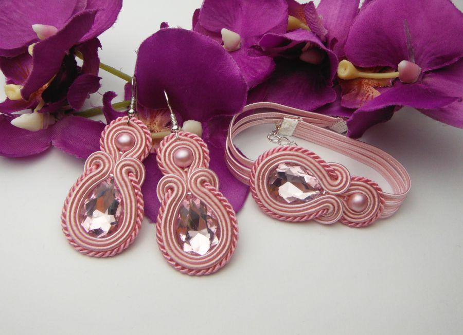 Komplet biżuterii pudrowy róż soutache sutasz