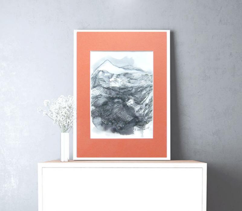 Szkic górski  11 -  czarno-biały rysunek