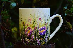 kubek ręcznie malowany - kwiatowy raj-250 ml