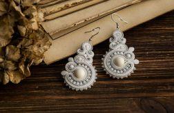 """Kolczyki sutasz, soutache """"White pearls"""""""