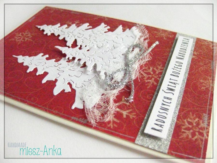 Kartka świąteczna z choinkami 1