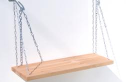 Półka na łańcuchach z drewna nowoczesna STEEL
