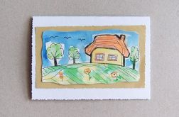 Kartka malowana - domek