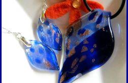 Kobaltowe szkło weneckie, komplet biżuterii