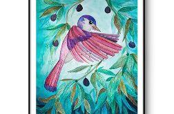Pink bird wydruk ilustracji