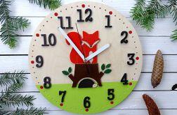 Zegar dla dziecka z liskiem i jeżem