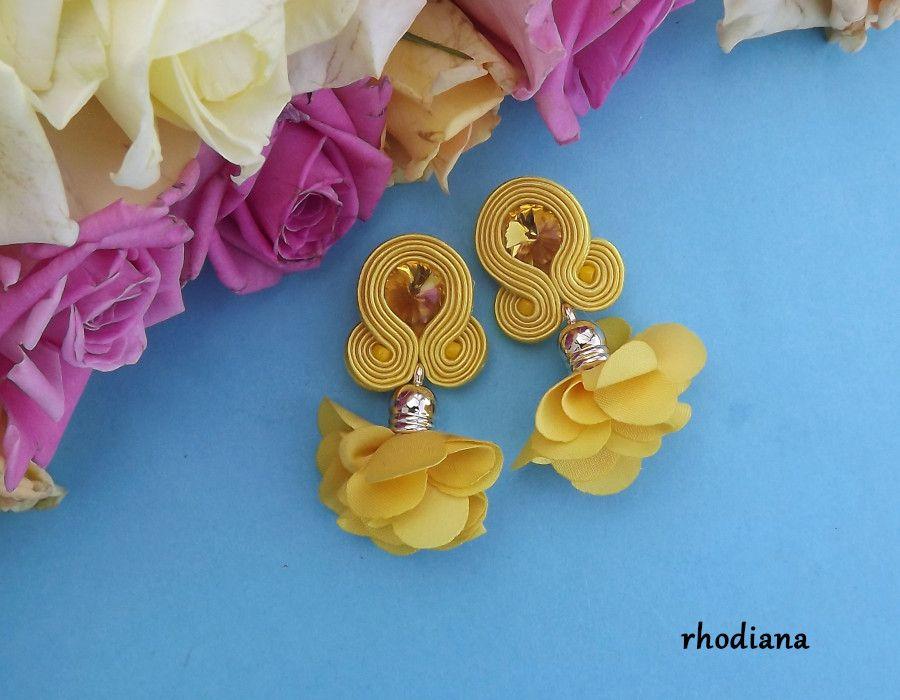 Żółte z kwiatowym Chwostem kolczyki