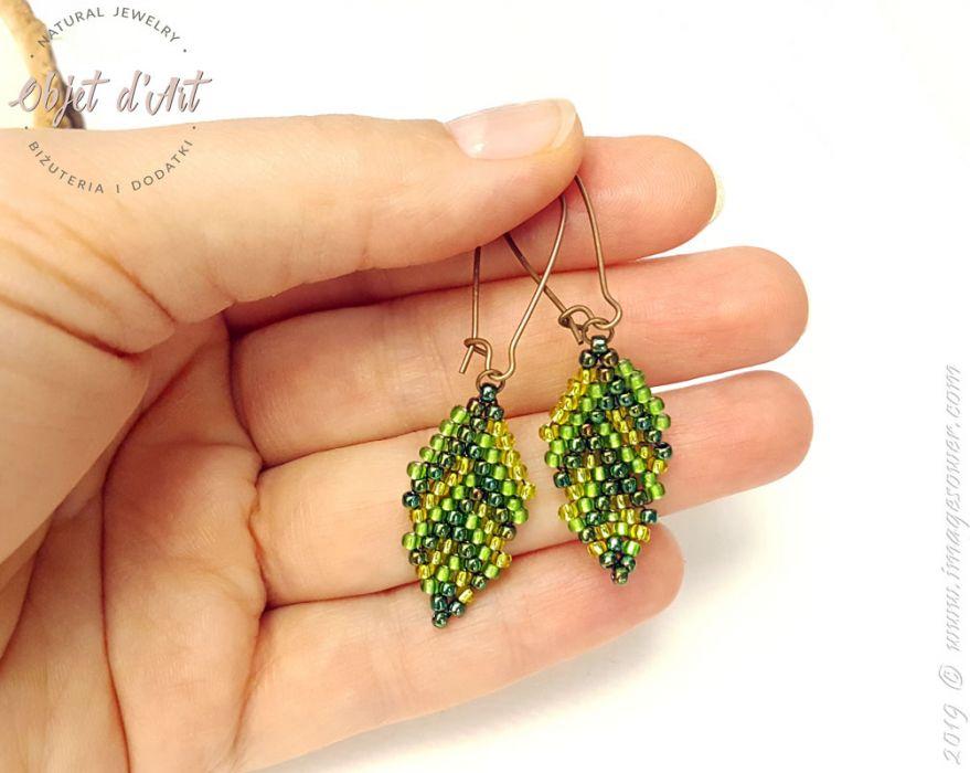 Kolczyki Zielone Koralikowe Liście
