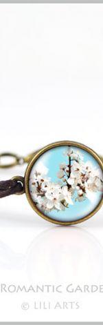 Bransoletka - Kwitnąca biel - brązowa, antyczny brąz