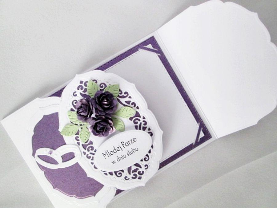 Kartka MŁODEJ PARZE biało-fioletowa