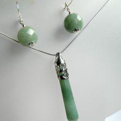Oliwkowy jadeit, piękny zestaw biżuterii
