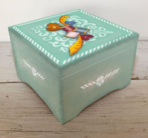 Pudełko Szkatułka Drewniana Przybory do Szycia Prezent
