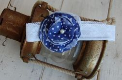 Retro opaska granatowa w groszki