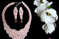Różowy naszyjnik kolczyki sutasz SWAROVSKI