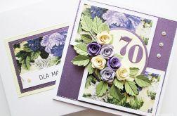 Kartka URODZINOWA - fioletowe różyczki