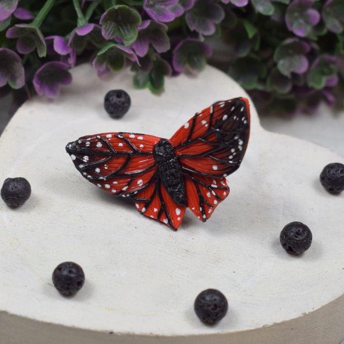 """Duży pierścionek """"czerwony motyl"""""""