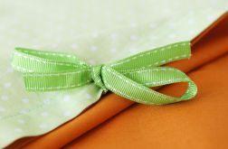 Pościel pomarańczowo- zielona w groszki