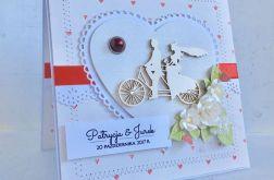 Kartka ślubna tandem z sercami