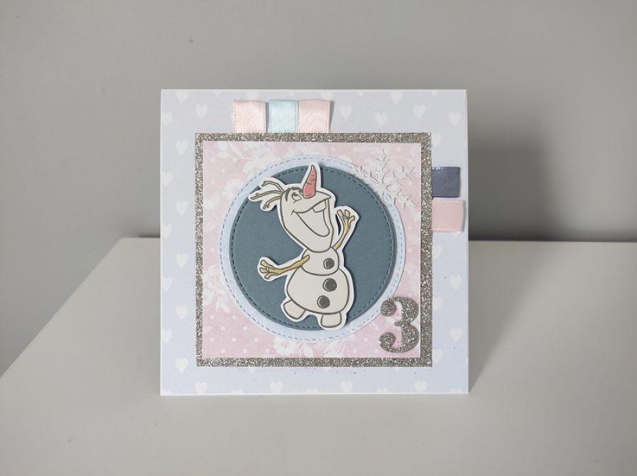 Kartka na Roczek urodziny 2,3,... Olaf Kraina Lodu -