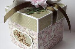 Kartka - pudełko ślubne oliwkowo-różowe