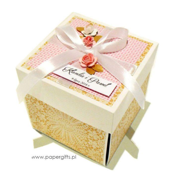 Exploding box ślubny złoto-różany - Złoto-różany box na ślub