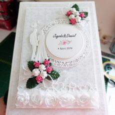 Kartka na ślub szaro biała z Parą Młodą