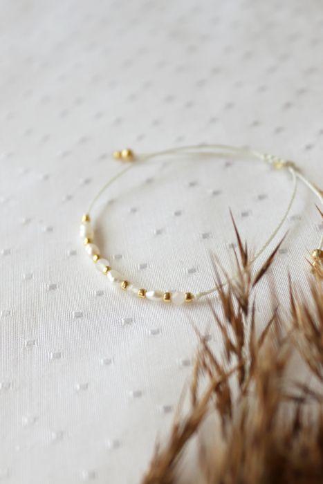 Bransoletka z perłami i kwarcem - Delikatny dodatek na rękę