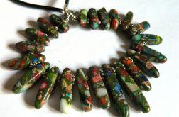 Kolorowy jaspis, stopniowane kamienia, kolia