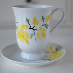 """Filiżanka malowana 300 ml ze spodkiem ,,Żółta magnolia"""""""