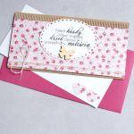 kartka kopertówka - kwiatuszki - sweet pink -