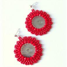 Kolczyki koralikowe koła ażurowe czerwone