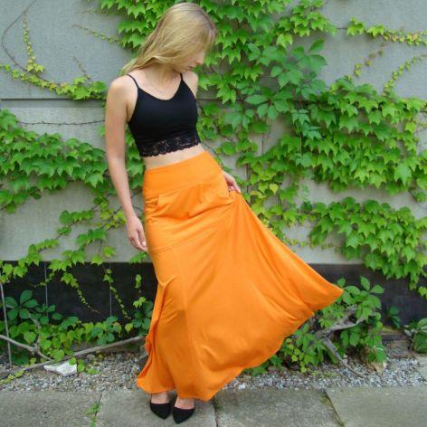 spódnica z kieszenią, pomarańczowa